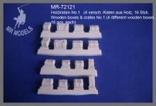 MR-72121 Holzkisten No.1   (4 versch. Kisten aus Holz,  16 Stück enth.)